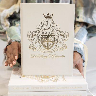 Luxury boxed wedding invitation with regal royal wedding crest
