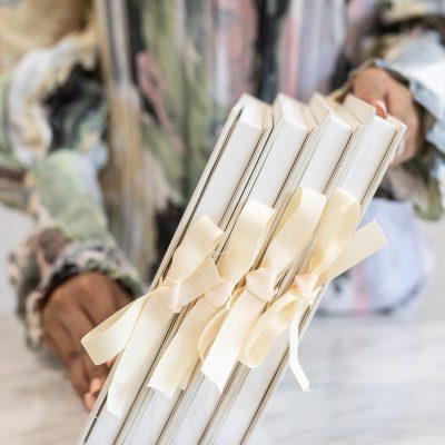 Luxury boxed wedding invitation with ribbon bows