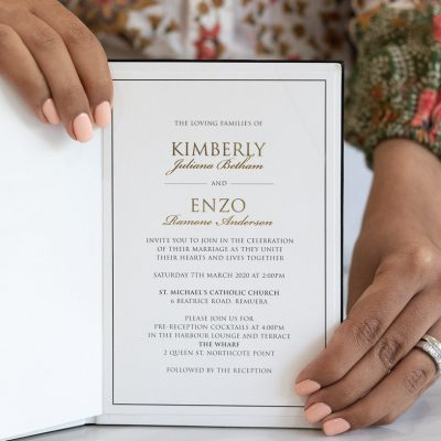Elegant book wedding invitation with gold foil