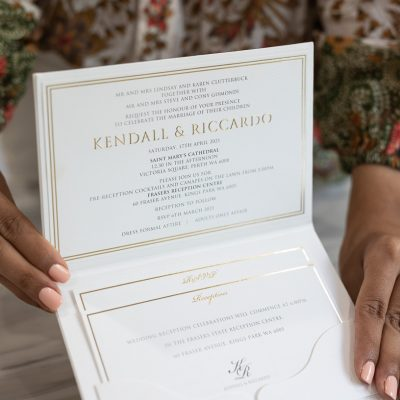 Luxurious pocket fold hardcover wedding invitations with gold foil
