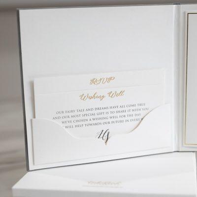 Hardcover pocket fold wedding invitation booklet