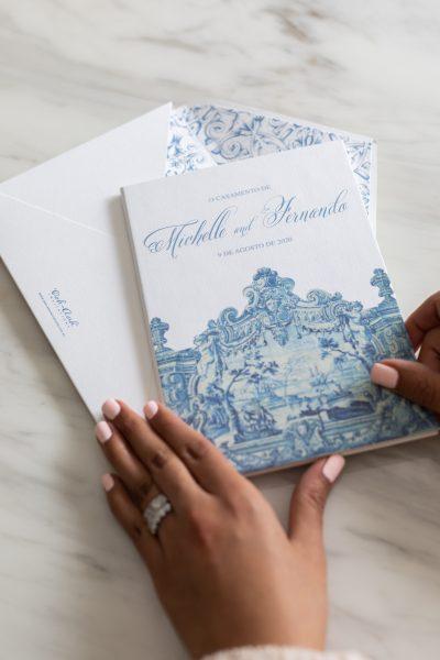 Portuguese Wedding Invitations Azulejo Blue Tiles