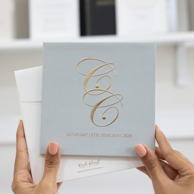 Grey and gold wedding invitation for a classic wedding