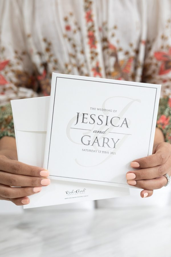 Modern and simple wedding invitations with silver foil