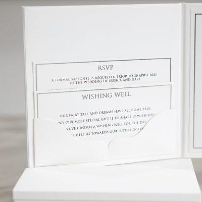 Elegant pocket fold hardcover wedding invitation