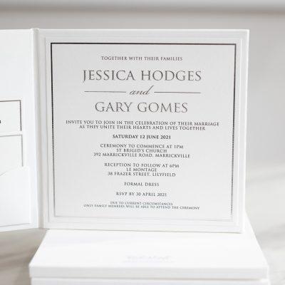Silver hardcover wedding invitations