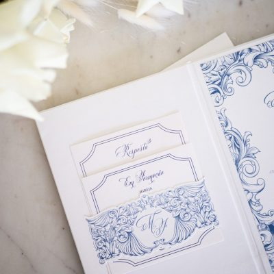 Portuguese Wedding Invitations designed with Azulejo Blue Tiles on Hardcover Booklet