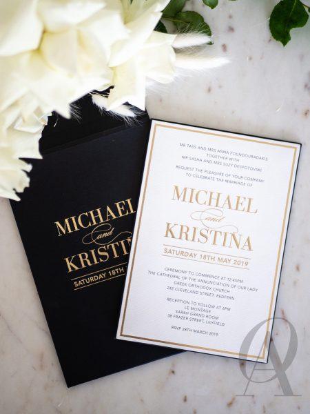 Modern Black White and Gold Foil Invitations Premium Board