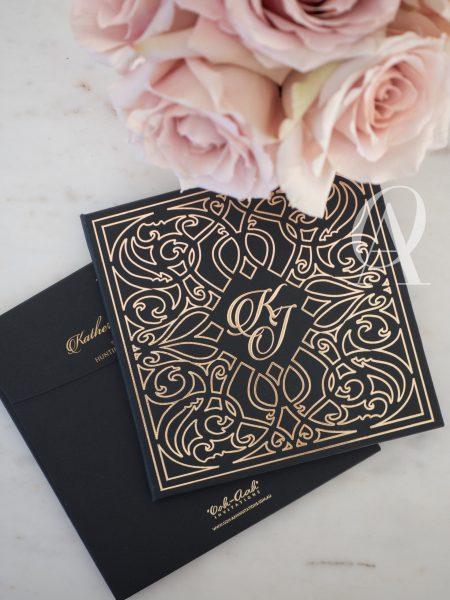 Unique Black and Gold Wedding Invitations with Embossing on Hardcover Booklet