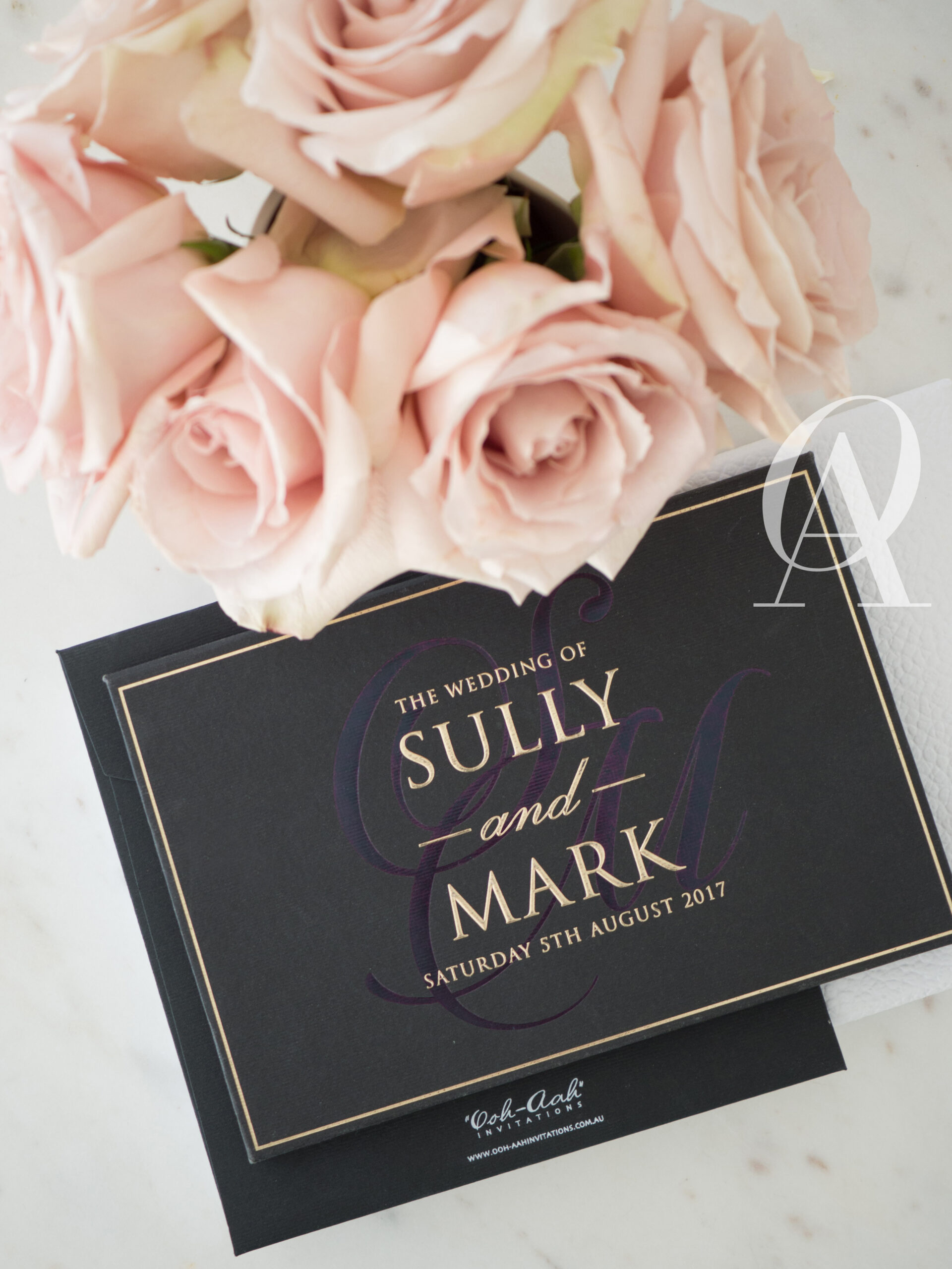 Modern Black and Gold Wedding Invitations with Embossing on Hardcover Booklet