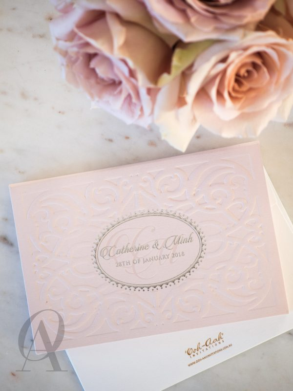 Romantic Pink Embossed Wedding Invitations Hardcover Booklet