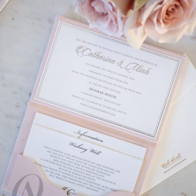 Romantic Pink Wedding Invitations Hardcover Booklet