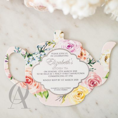 Teapot bridal shower invitation card