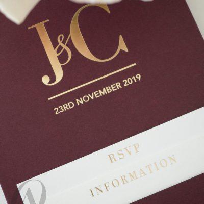 Burgundy and Gold Foil Wedding Invitations Premium Board