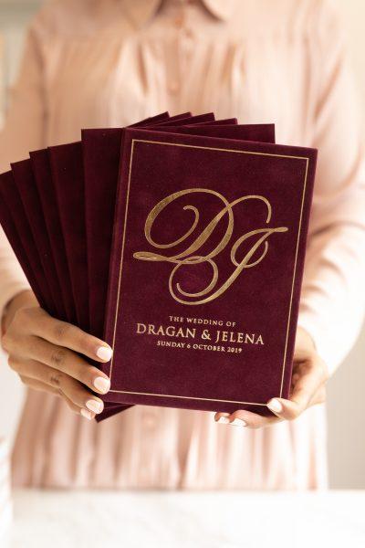 Luxury Burgundy velvet suede wedding invitation book with gold foil