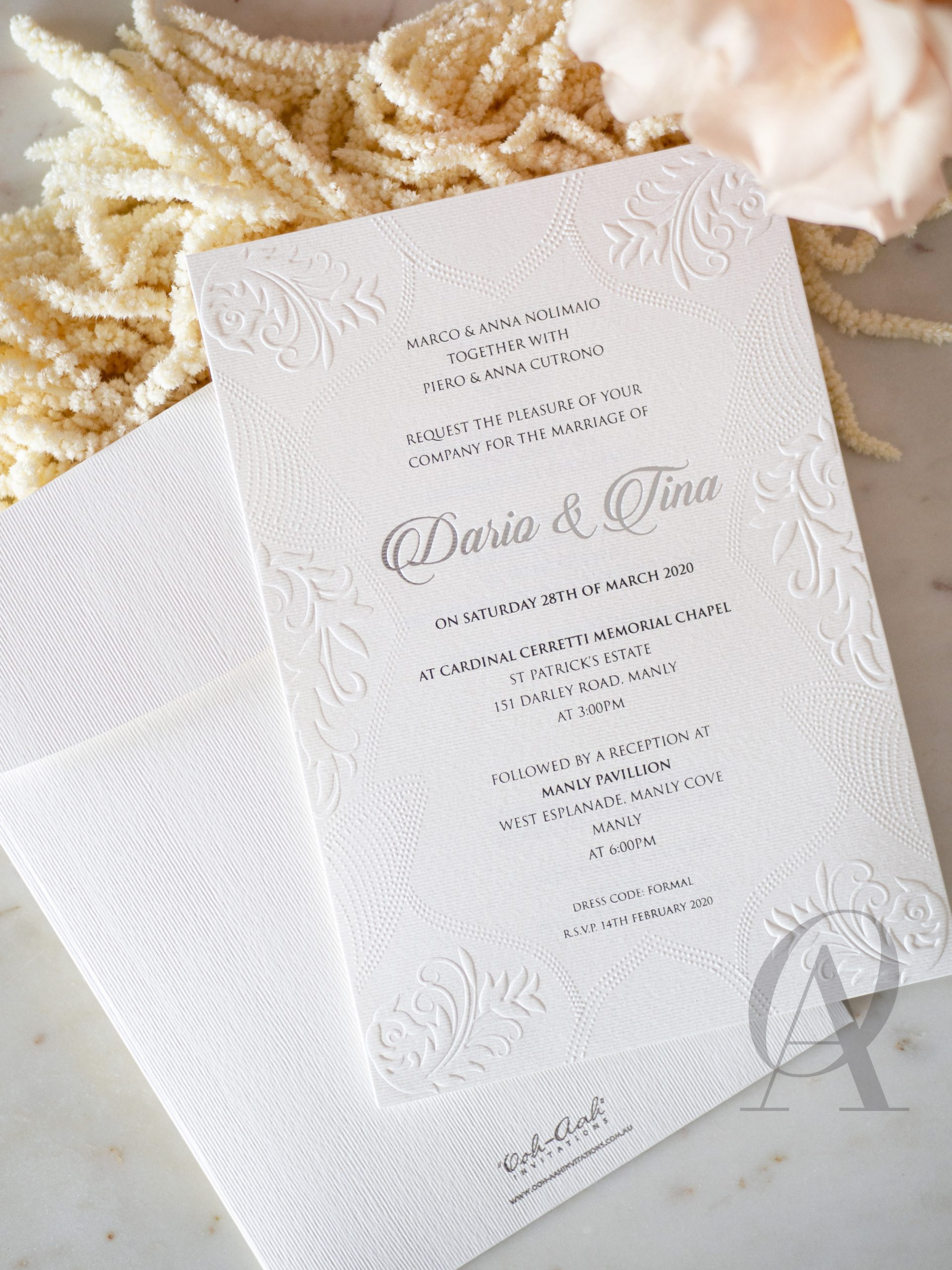 Embossed Wedding Invitation Cards with Silver Foil