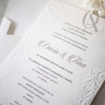 Elegant wedding invitations embossed