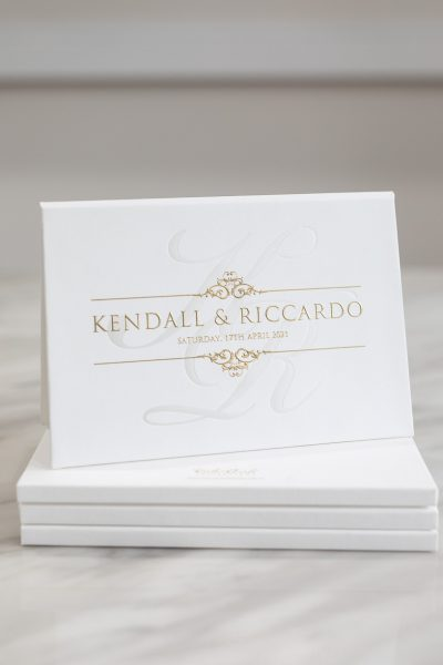 Classic white and gold wedding invitations hardcover booklet