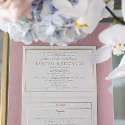 Pocket wedding invitations hardcover booklet with elegant gold foil