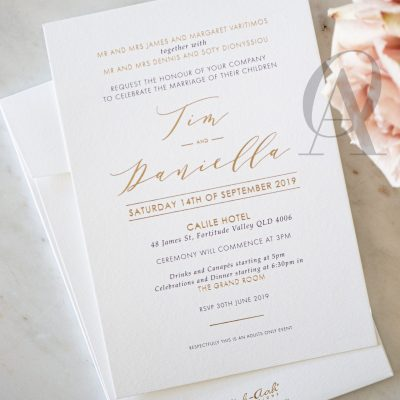 Modern Wedding Invitation Card with Gold Foil Calligraphy