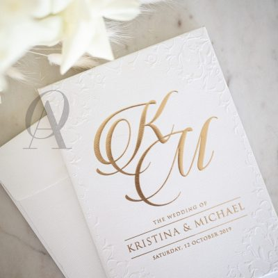 Classic Wedding Invitations White and Gold with Embossing on Hardcover Booklet