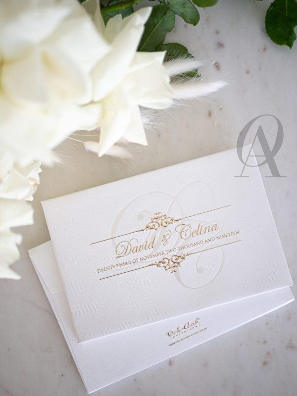 Classic Wedding Invitations Ivory White and Gold Hardcover Booklet