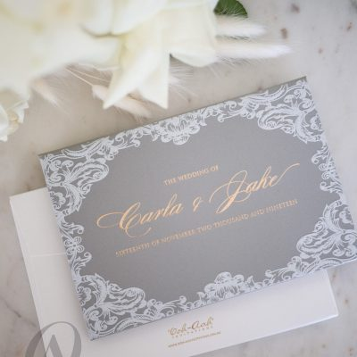 Grey and Gold Foil Embossed HardcoverWedding Invitation Booklet