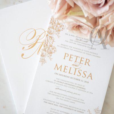 Rustic Floral Wedding Invitations Rose Gold Foil Premium Board