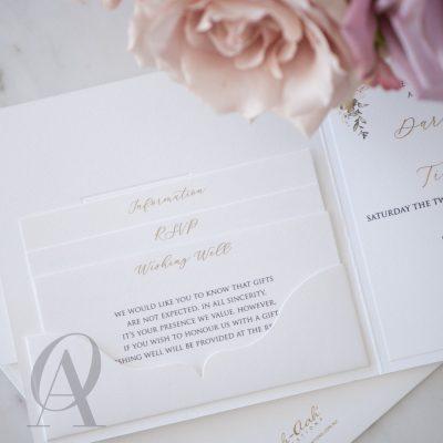 Blush pink floral wedding invitation
