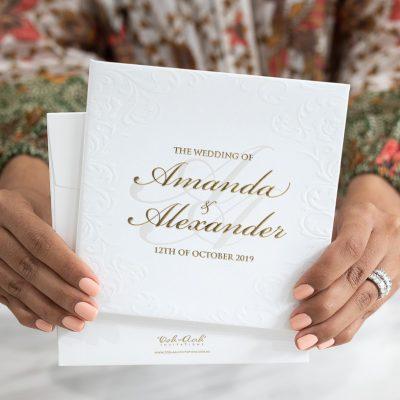 Embossed elegant wedding invitations hardcover booklet