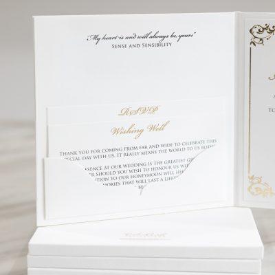 Pocket fold hardcover wedding invitation classic font