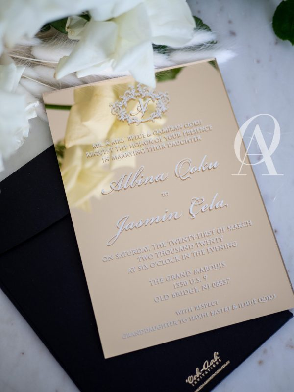 Gold mirror acrylic wedding invitations with white ink print