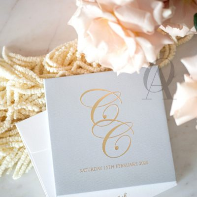 Luxury Grey and Gold Wedding Invitations Hardcover Booklet
