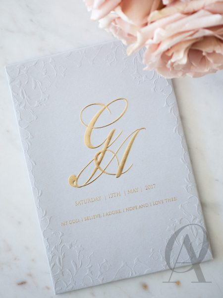 Grey and Gold Foil Embossed Wedding Invitations Premium Board