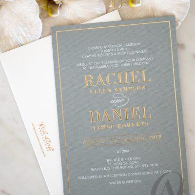 Elegant Grey & Gold Wedding Invitation card
