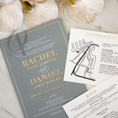 Luxury grey and gold wedding invitations