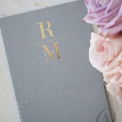 Grey and Gold Foil Wedding Invitations Premium Board