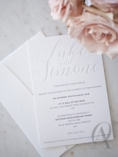 Modern and Simple Wedding Invitations with Letterpress Calligraphy