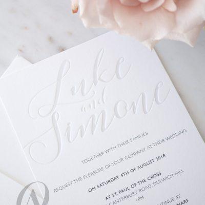 Modern calligraphy letterpress wedding invitations