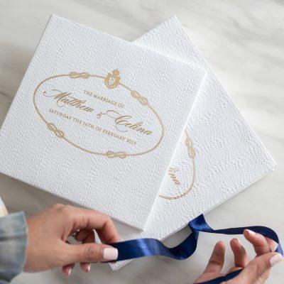 Luxury wedding invitation box ribbon