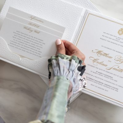 Luxury wedding invitation box with pocket for RSVP, wishing well & details