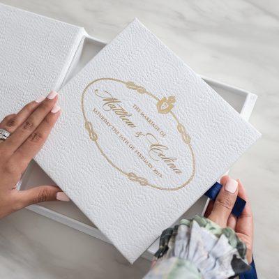 Prada luxury wedding invitation box with snakeskin patten