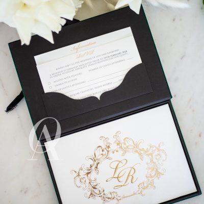 Green Suede Luxury Box Wedding Invitations