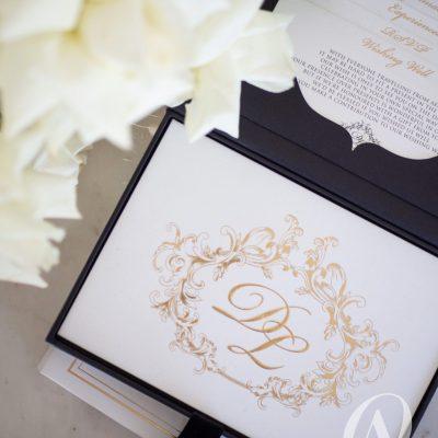 Luxury Box Wedding Invitations Grey Suede