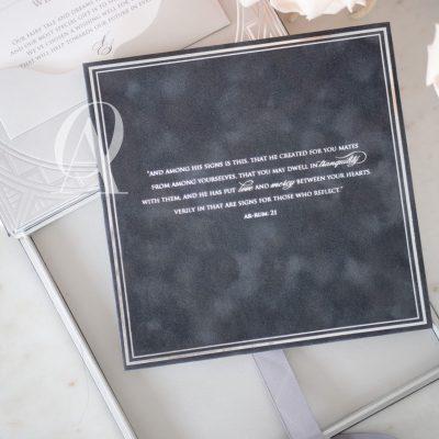 Luxury Boxed Wedding Invitations Grey Suede Silver Foil