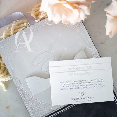 Grey Suede Modern Luxury Boxed Wedding Invitations