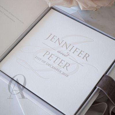 Luxury box wedding invitations silver foil embossing