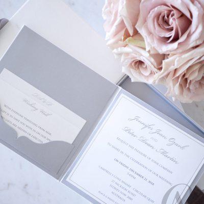 Elegant pocket fold wedding invitations insert cards