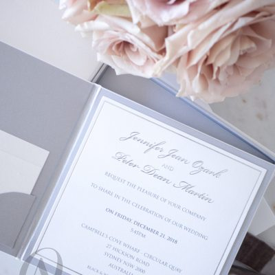 White and silver wedding invitations modern simple