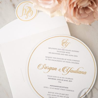 Luxury Engagement Invitation cards gold foil on suede